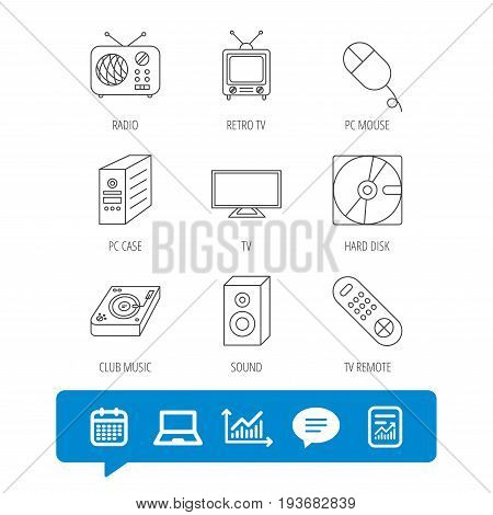 Sound, club music and retro radio icons. PC mouse and case, hard disk linear signs. TV remote icons. Report file, Graph chart and Chat speech bubble signs. Laptop and Calendar web icons. Vector