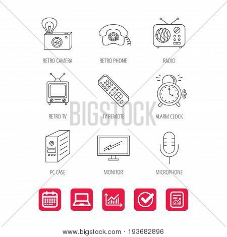 Retro camera, radio and phone call icons. Monitor, PC case and microphone linear signs. TV remote, alarm clock icons. Report document, Graph chart and Calendar signs. Laptop and Check web icons
