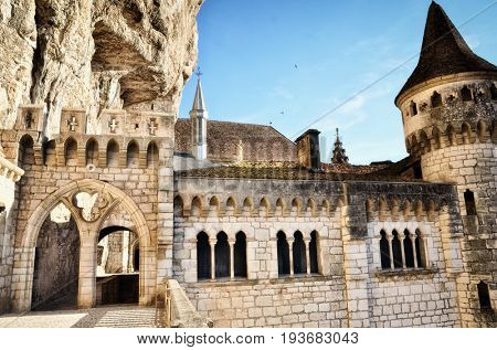 Rocamadour, one of the most beautiful village in France, details of the Sanctuary and the chapels