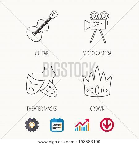 Crown, guitar music and theater masks icons. Video camera linear sign. Calendar, Graph chart and Cogwheel signs. Download colored web icon. Vector