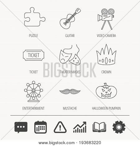 Puzzle, guitar music and theater masks icons. Ticket, video camera and crown linear signs. Entertainment, halloween pumpkin and mustache icons. Education book, Graph chart and Chat signs. Vector