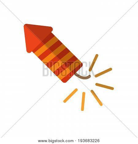 Fireworks rocket flat icon filled vector sign colorful pictogram isolated on white. Petard symbol logo illustration. Flat style design