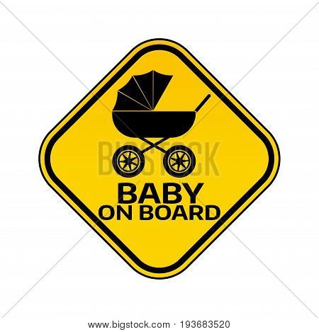 Baby on board sign with child carriage silhouette in yellow rhombus on a white background. Car sticker with warning and pram. Vector illustration.
