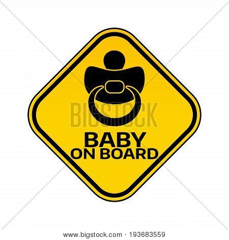 Baby on board sign with child nipple silhouette in yellow rhombus on a white background. Car sticker with warning. Vector illustration.