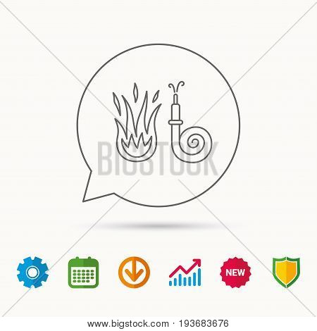 Fire hose reel icon. Fire station sign. Calendar, Graph chart and Cogwheel signs. Download and Shield web icons. Vector