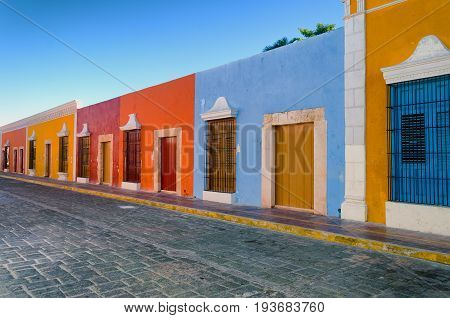 Bright colors in colonial houses in downtown Campeche Mexico.