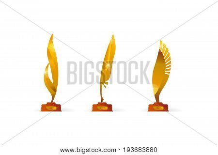 award price gold symbol set in feather or wings shape. vector illustration for web and print design