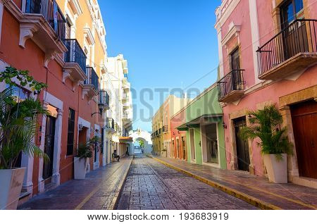 View of a historic colonial street in Campeche Mexico