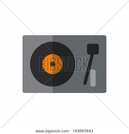 Turntable vinyl disc player flat icon filled vector sign colorful pictogram isolated on white. DJ symbol logo illustration. Flat style design