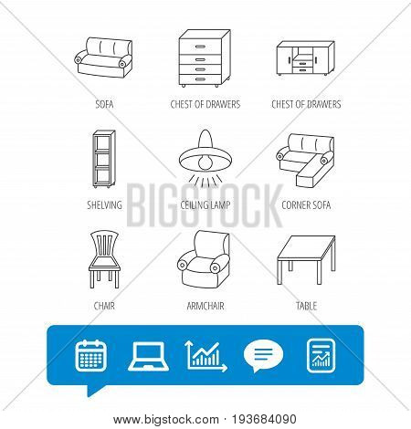 Corner sofa, table and armchair icons. Chair, ceiling lamp and chest of drawers linear signs. Shelving, furniture flat line icons. Report file, Graph chart and Chat speech bubble signs. Vector