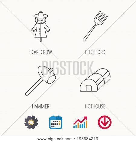 Hammer, hothouse and scarecrow icons. Pitchfork linear sign. Calendar, Graph chart and Cogwheel signs. Download colored web icon. Vector