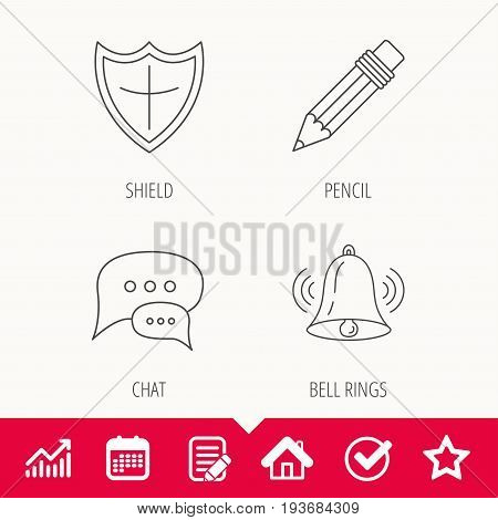 Chat, pencil and protection shield icons. Bell rings linear sign. Edit document, Calendar and Graph chart signs. Star, Check and House web icons. Vector