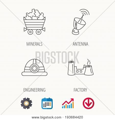 Antenna, minerals and engineering helm icons. Factory linear sign. Calendar, Graph chart and Cogwheel signs. Download colored web icon. Vector
