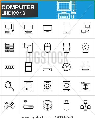 Computer line icons set outline vector symbol collection linear style pictogram pack. Signs logo illustration. Set includes icons as desktop computer laptop tablet printer hdd save server