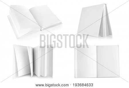 Marketing concept. Blank brochures on white background
