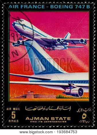 Moscow Russia - July 03 2017: A stamp printed in Ajman shows passenger airliner Boeing 747B Air France series