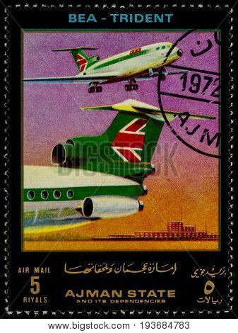 Moscow Russia - July 03 2017: A stamp printed in Ajman shows British passenger airplane Trident BEA series