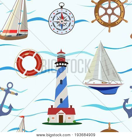 Vector pattern with yachts and a beacon, a compass, an anchor and a steering wheel on the sea or the ocean.
