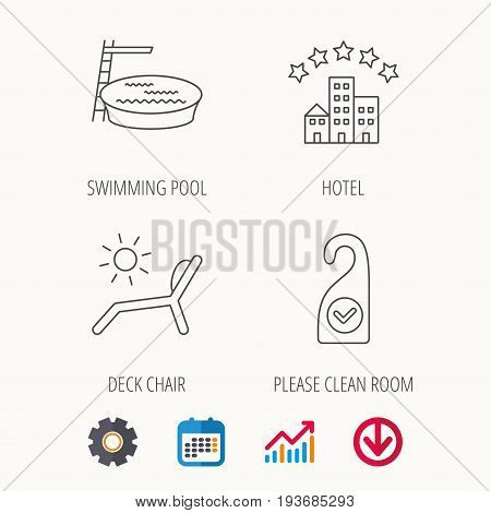 Hotel, swimming pool and beach deck chair icons. Clean room linear sign. Calendar, Graph chart and Cogwheel signs. Download colored web icon. Vector
