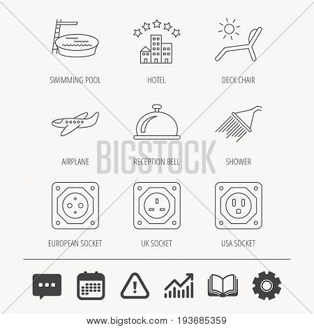 Hotel, swimming pool and beach deck chair icons. Reception bell, shower and airplane linear signs. European, UK and USA socket icons. Education book, Graph chart and Chat signs. Vector