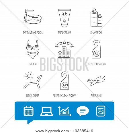 Hotel, swimming pool and beach deck chair icons. Sun cream, do not disturb and clean room linear signs. Shampoo and airplane icons. Report file, Graph chart and Chat speech bubble signs. Vector