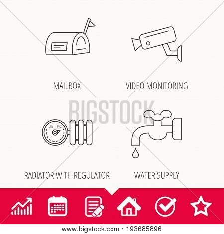 Water supply, video camera and mailbox icons. Radiator with regulator linear sign. Edit document, Calendar and Graph chart signs. Star, Check and House web icons. Vector
