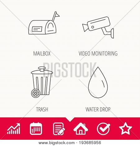 Mailbox, video monitoring and water drop icons. Trash bin linear sign. Edit document, Calendar and Graph chart signs. Star, Check and House web icons. Vector