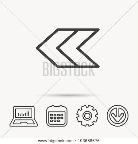 Left arrow icon. Previous sign. Back direction symbol. Notebook, Calendar and Cogwheel signs. Download arrow web icon. Vector