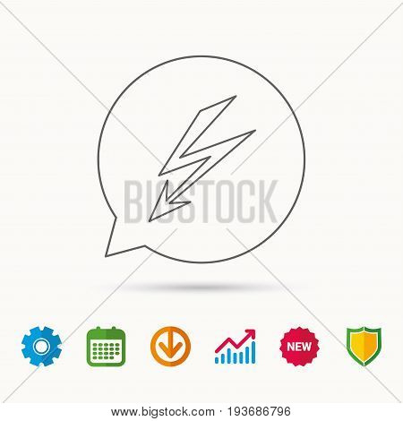 Lightening bolt icon. Power supply sign. Electricity symbol. Calendar, Graph chart and Cogwheel signs. Download and Shield web icons. Vector