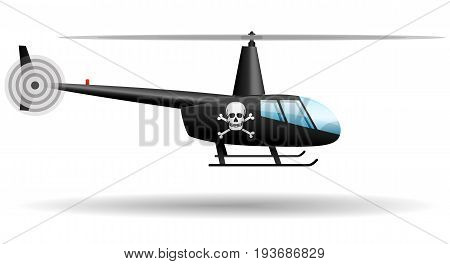 Black Pirate helicopter. Isolated object. Vector illustration