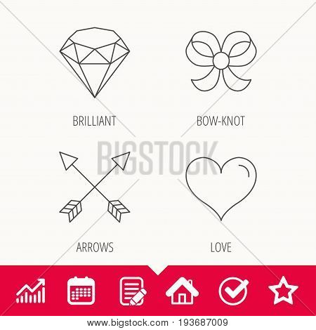 Love heart, brilliant and bow-knot icons. Arrows linear signs. Edit document, Calendar and Graph chart signs. Star, Check and House web icons. Vector