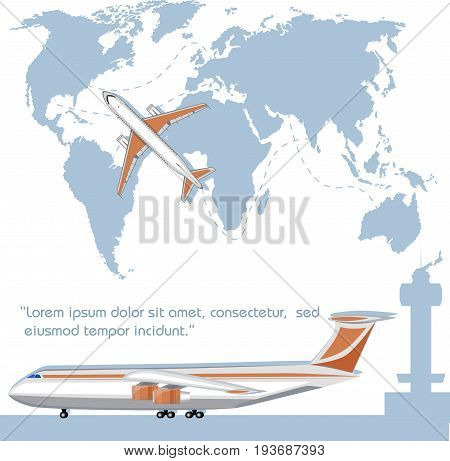 Aviation flyer with jet airplane. Commercial air shipment fast freight delivery global cargo transportation. Worldwide tourist and business flights low cost airline banner vector illustration.