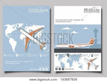 Aviation flyers set with airplane. Commercial air shipment fast freight delivery global cargo transportation. Worldwide tourist and business flights low cost airline banner vector illustration.
