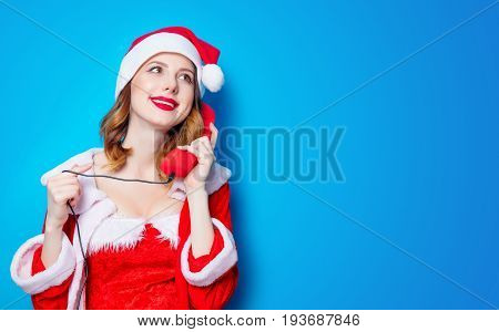 Santa Claus Girl In Red Clothes With Handset