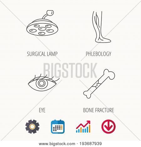 Eye, bone fracture and vein varicose icons. Surgical lamp linear sign. Calendar, Graph chart and Cogwheel signs. Download colored web icon. Vector