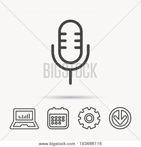 Retro microphone icon. Karaoke or radio sign. Notebook, Calendar and Cogwheel signs. Download arrow web icon. Vector