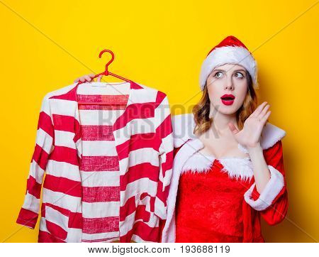 Santa Clous Girl In Red Clothes With Shirt