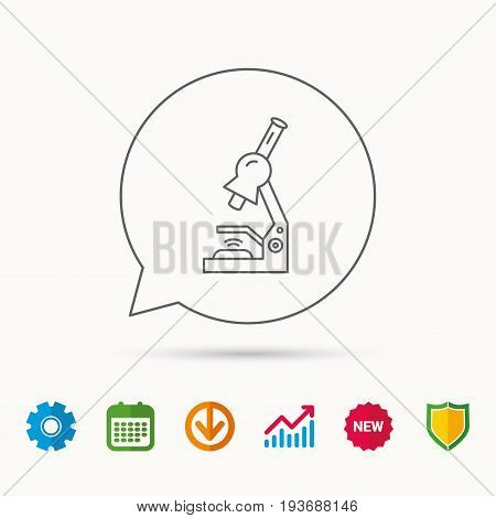 Microscope icon. Medical laboratory equipment sign. Pathology or scientific symbol. Calendar, Graph chart and Cogwheel signs. Download and Shield web icons. Vector