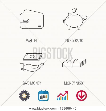 Piggy bank, cash money and wallet icons. Save money linear sign. Calendar, Graph chart and Cogwheel signs. Download colored web icon. Vector