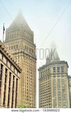 Thurgood Marshall United States Courthouse and Manhattan Municipal Building in New York City, USA