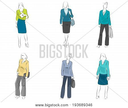Vector illustration of six mannequin with casual outfit