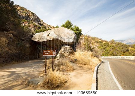 Tunnel Rock at the entrance to Sequoia National Park on Generals Hwy in California, USA