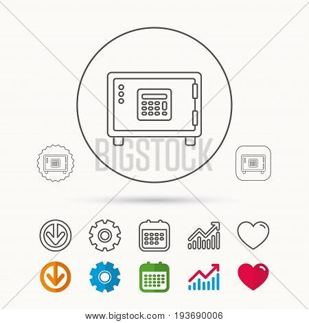Safe icon. Money deposit sign. Combination lock symbol. Calendar, Graph chart and Cogwheel signs. Download and Heart love linear web icons. Vector