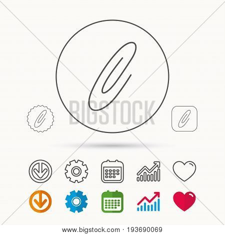 Safety pin icon. Paperclip sign. Calendar, Graph chart and Cogwheel signs. Download and Heart love linear web icons. Vector