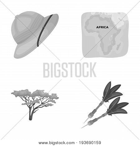 Cork hat, darts, savannah tree, territory map. African safari set collection icons in monochrome style vector symbol stock illustration .