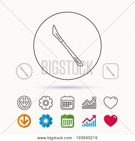 Scalpel icon. Surgeon tool sign. Calendar, Graph chart and Cogwheel signs. Download and Heart love linear web icons. Vector