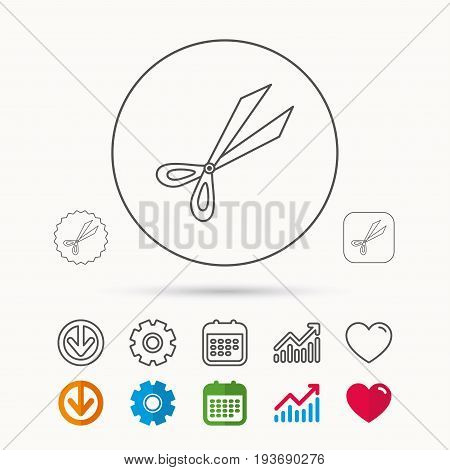 Gardening scissors icon. Secateurs tool sign symbol. Calendar, Graph chart and Cogwheel signs. Download and Heart love linear web icons. Vector