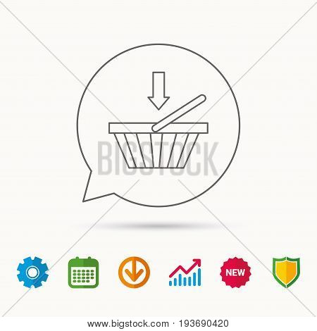 Shopping cart icon. Online buying sign. Calendar, Graph chart and Cogwheel signs. Download and Shield web icons. Vector