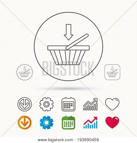 Shopping cart icon. Online buying sign. Calendar, Graph chart and Cogwheel signs. Download and Heart love linear web icons. Vector