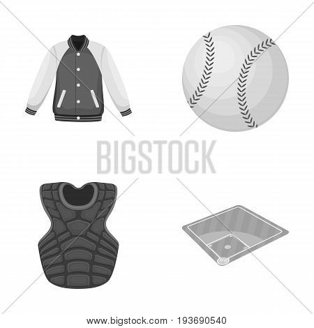 Playground, jacket, ball, protective vest. Baseball set collection icons in monochrome style vector symbol stock illustration .